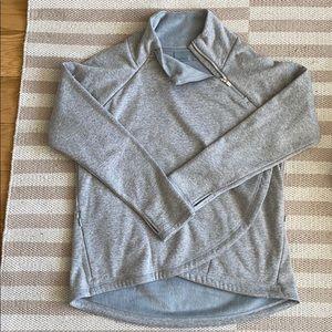 Fleece lined grey shawl neck hoodie